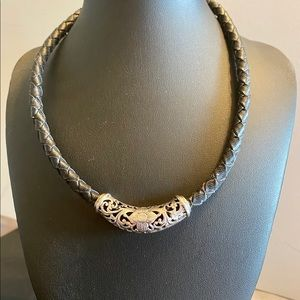 Black leather & silver necklace